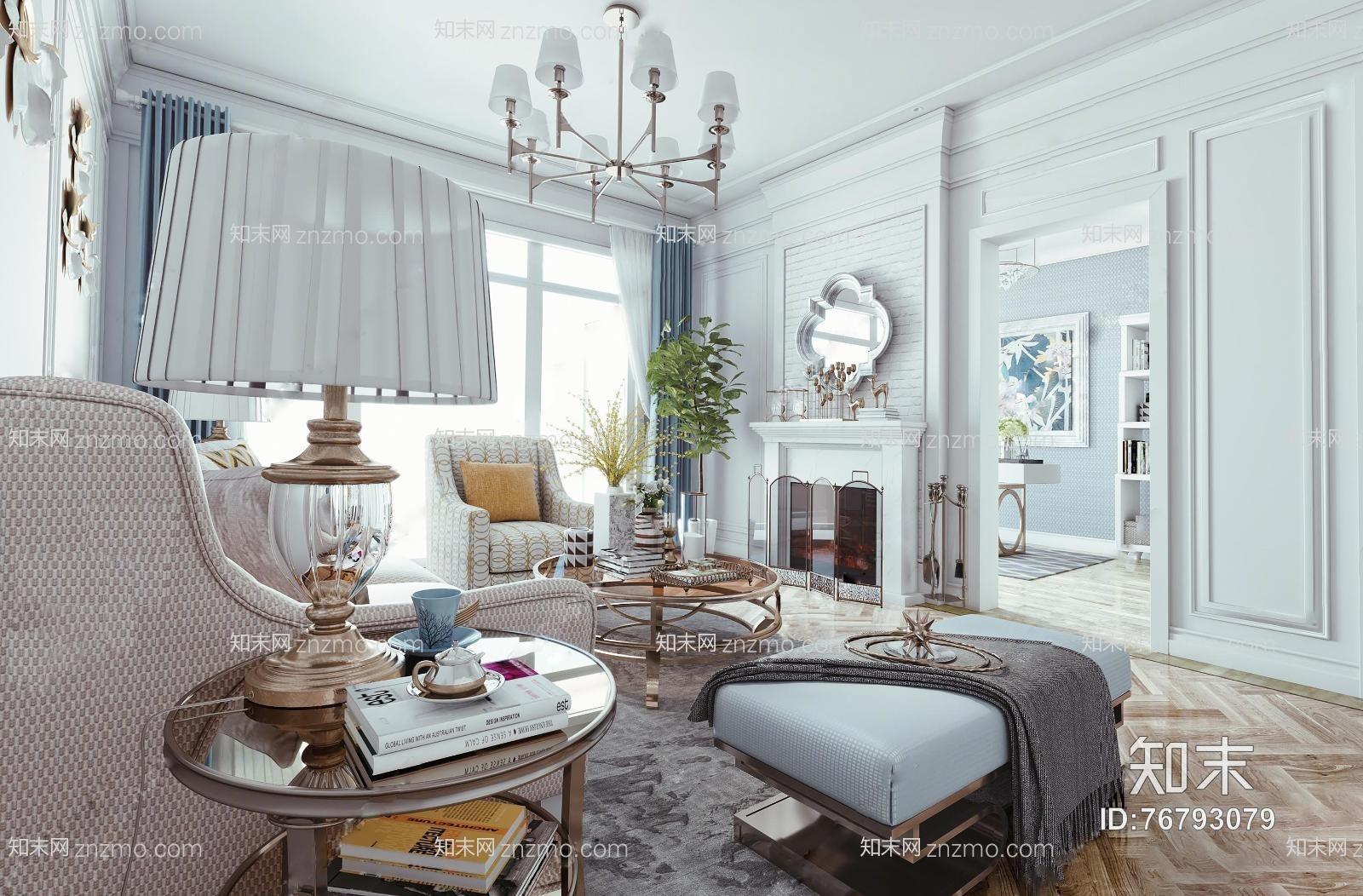 美式客厅 吊灯 台灯 装饰墙 沙发 茶几 装饰柜 摆件 挂画
