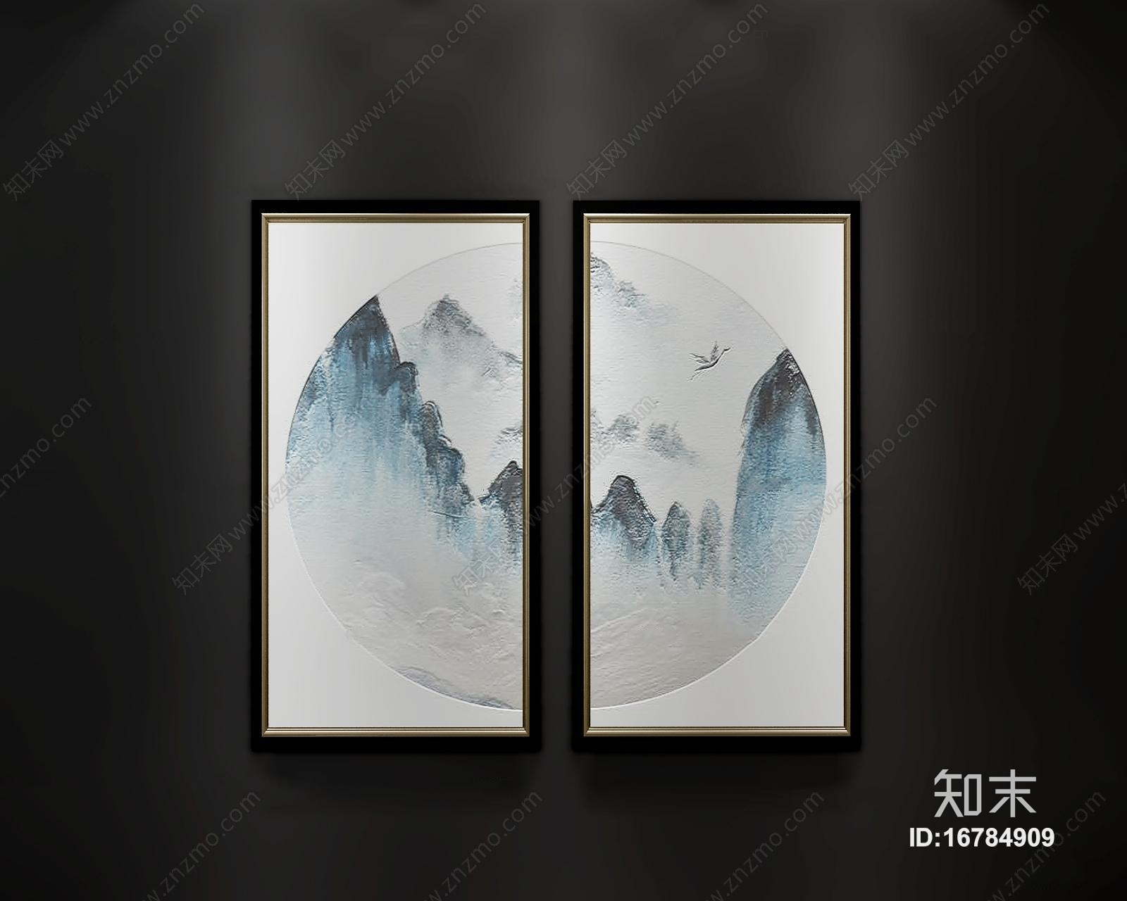 新中式水墨画装饰画挂画组合3D模型