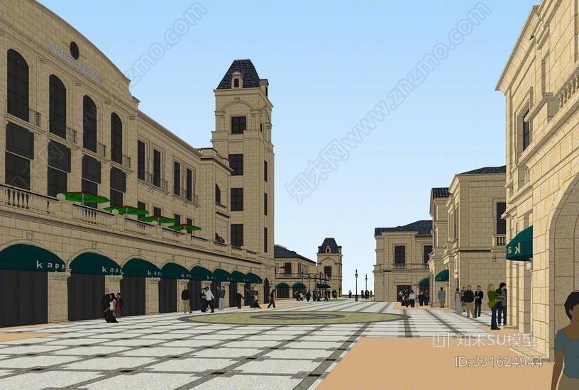 新古典商业街SU模型