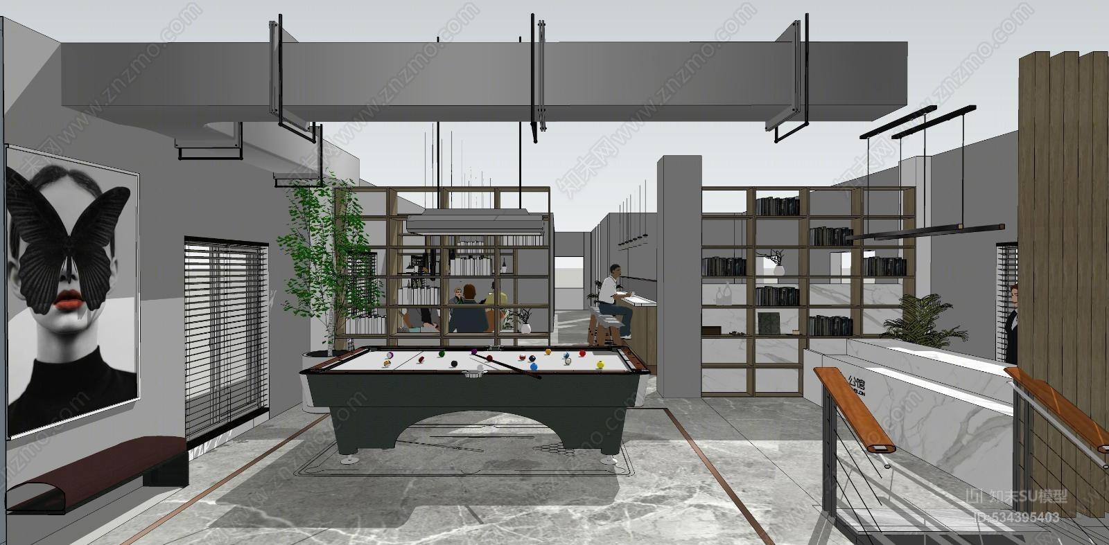 现代轻奢工业风LOFT桌球台球室
