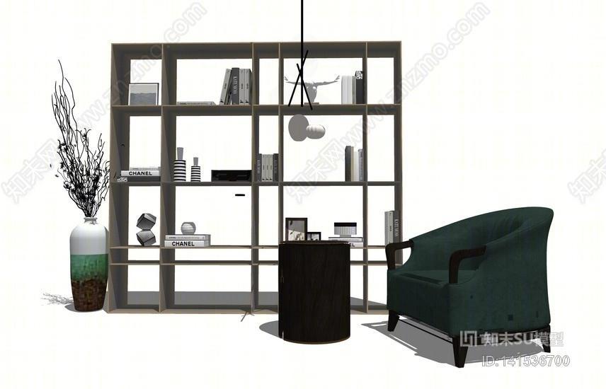 新中式书架椅子组合SU模型