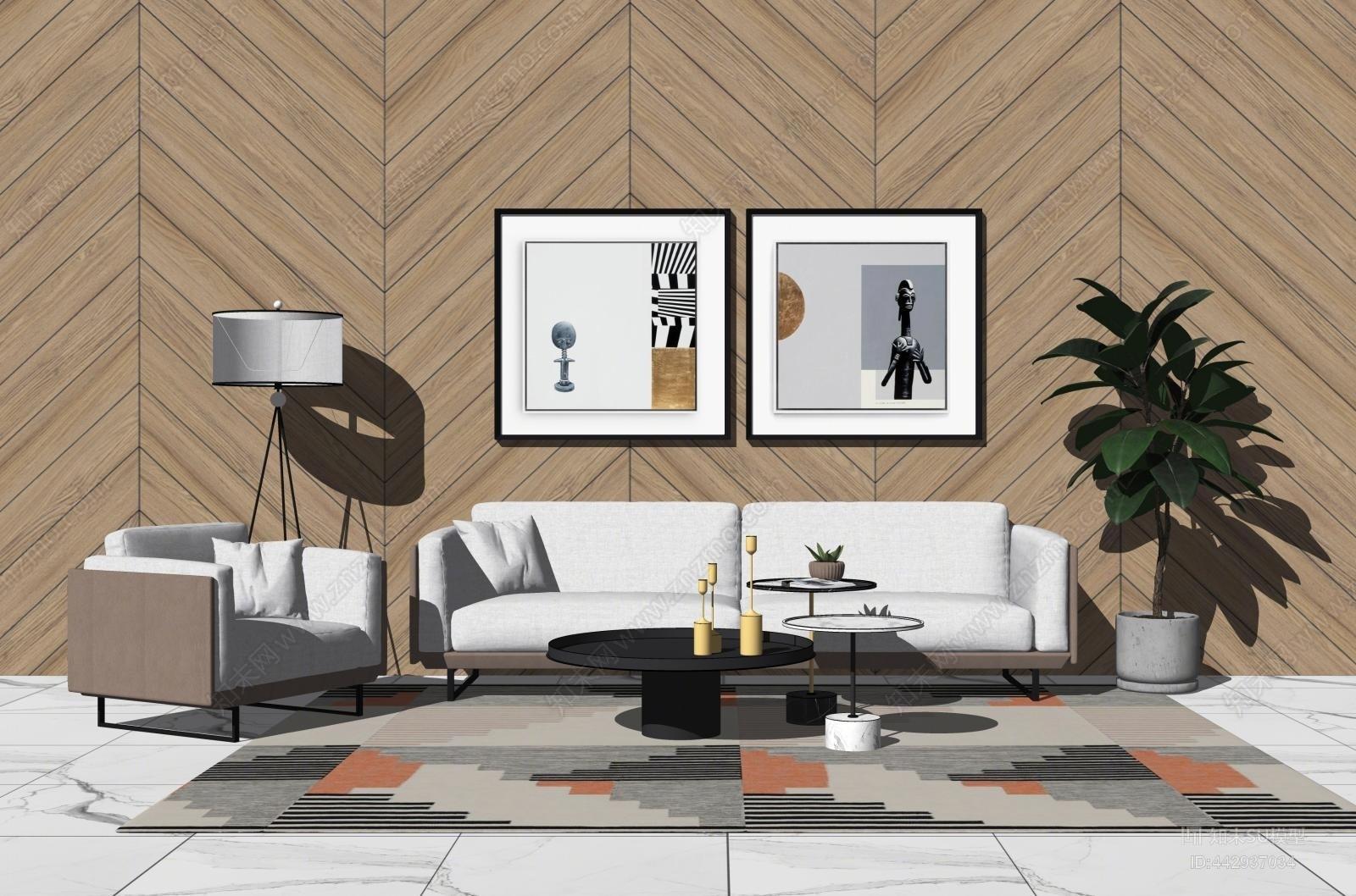 现代沙发 挂画