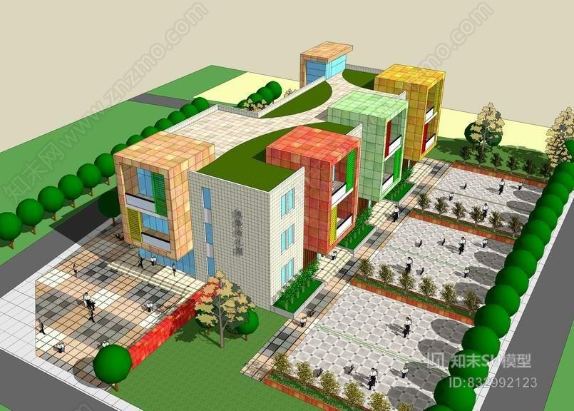 现代幼儿园SU模型