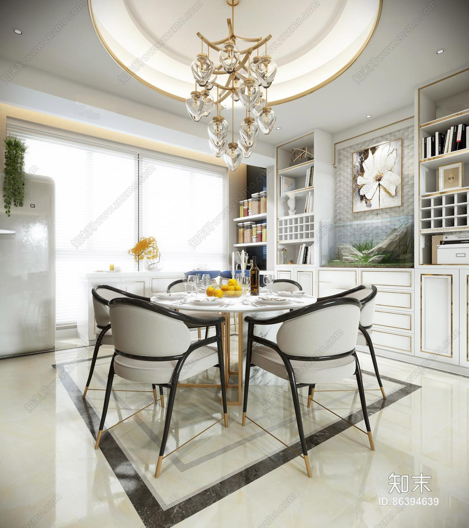 后现代客厅餐厅 吊灯 壁灯 单双人沙发 茶几 装饰柜 摆件 餐桌椅 挂画 储物柜 置物架