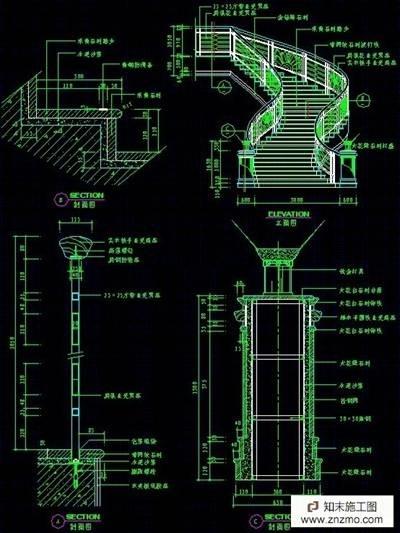 餐饮cad立面图_多种楼梯CAD图(带立面,剖面)施工图下载【ID:26949311】_知末案例馆