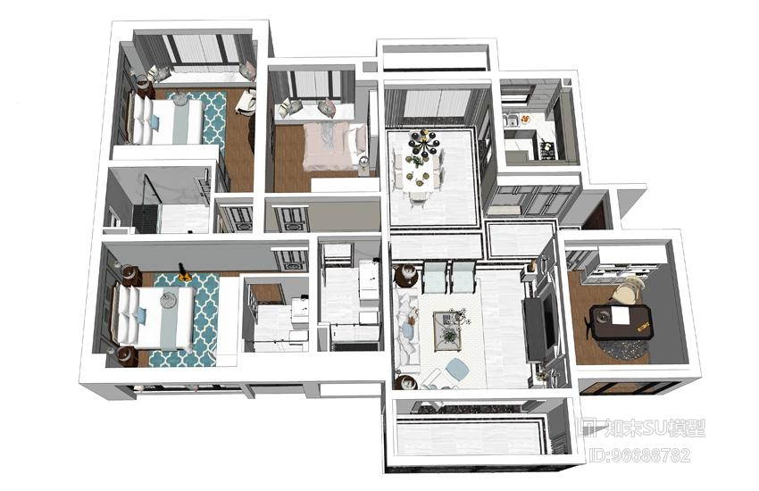 精品免费美式风格四房两厅室内设计SU模型