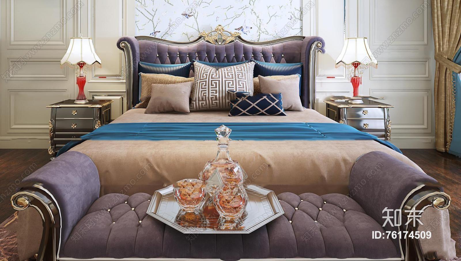 欧式布衣双人床床头柜台灯组合3d模型下载【id:76174509】