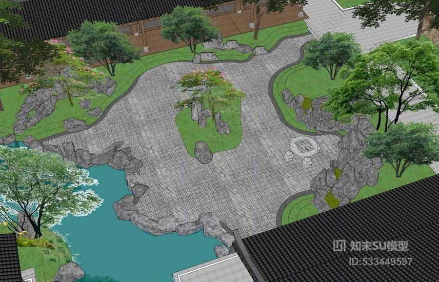 湿地园林度假酒店景观SU模型