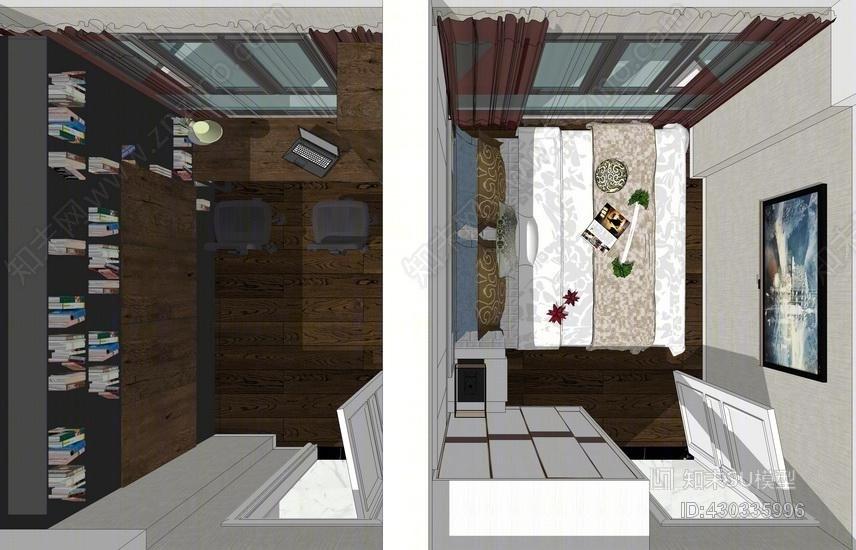 吉祥里现代风格四房两厅室内设计SU模型SU模型下载【ID:430335996】