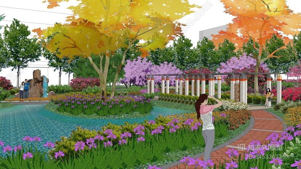 现代公园景观SU模型SU模型下载【ID:545336771】