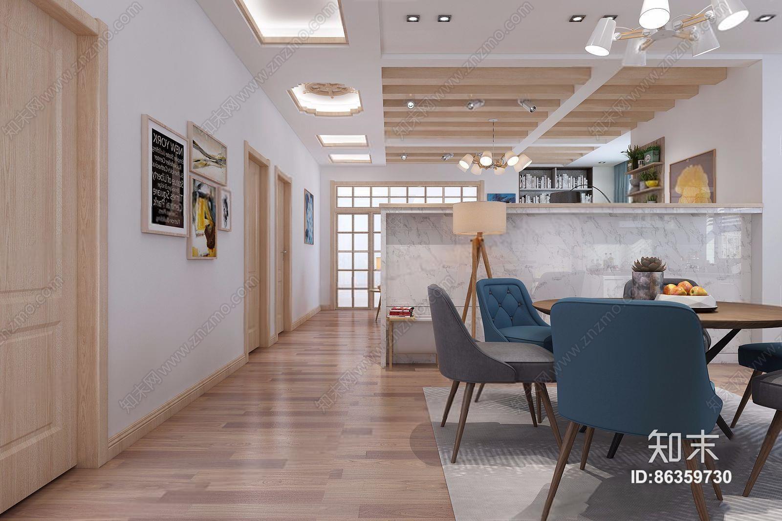 北欧客餐厅 北欧整体模型 多人沙发 茶几 边几 电视柜 餐桌椅 吊灯 壁柜 台灯 地毯 挂画 落地灯 摆件