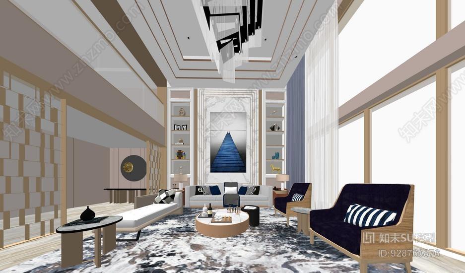 新中式客厅SU模型