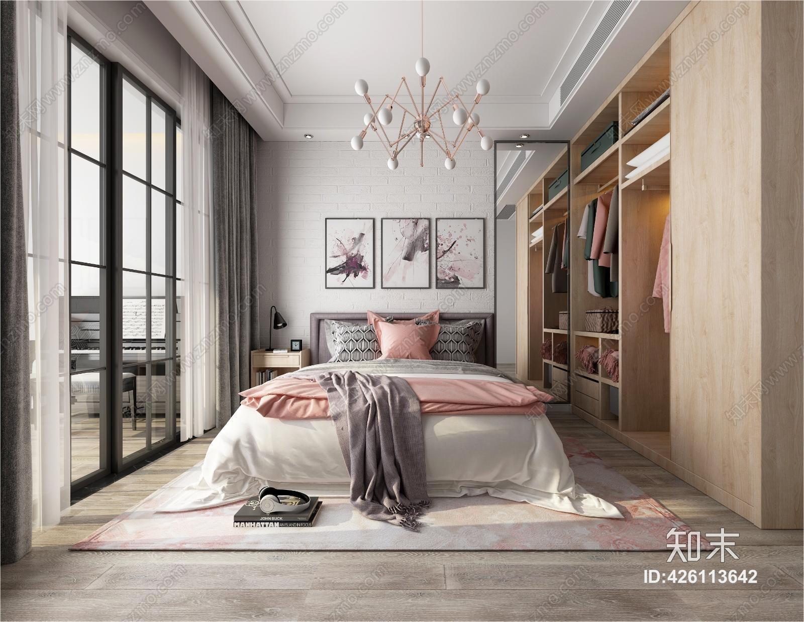 北欧风格女孩房 床头柜 床尾凳 双人床 床 单人床 吊灯 挂画 壁灯