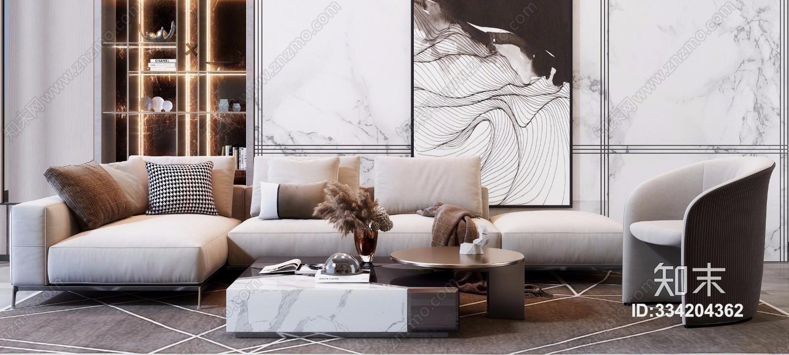现代简约轻奢沙发茶几组合
