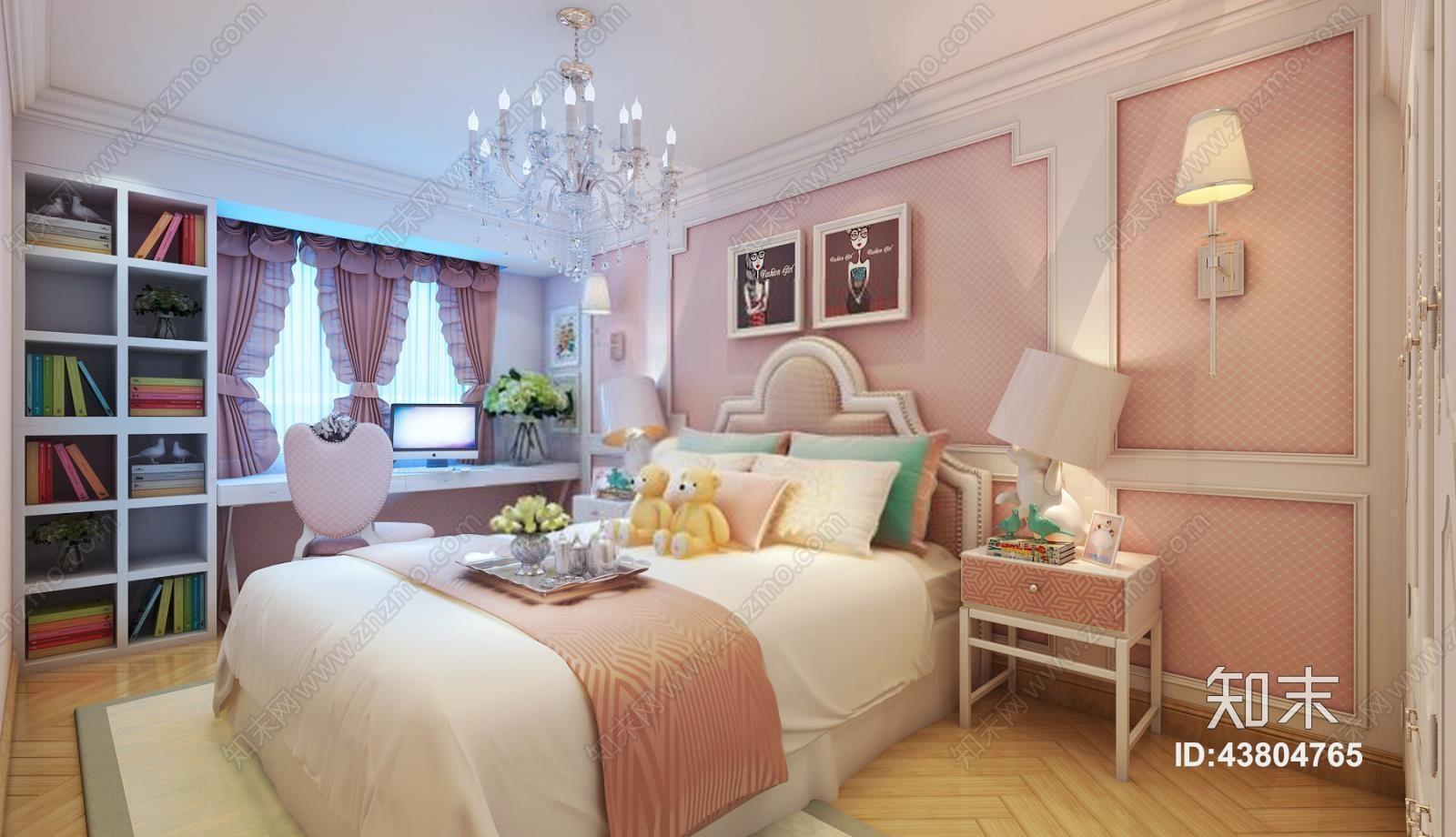 儿童房 女儿房 公主房模型 现代儿童房 儿童床 书桌椅 书柜 床头柜