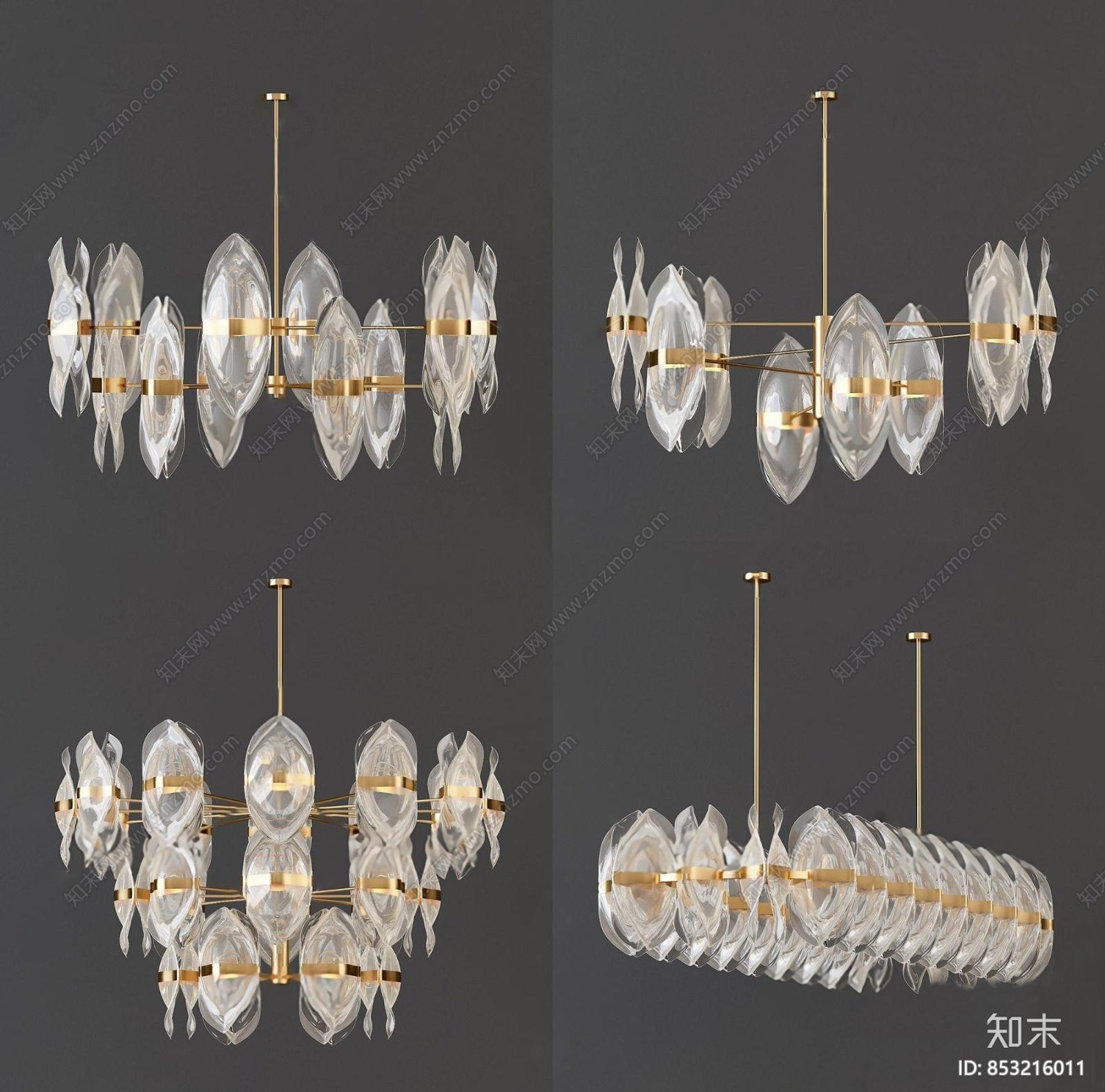 现代轻奢贝壳吊灯3d模型