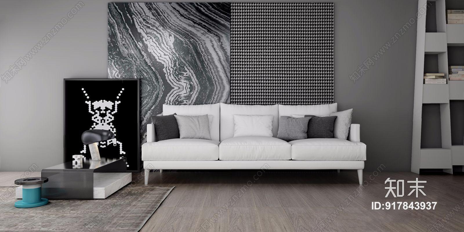 意大利 Bonaldo 现代多人沙发 现代多人沙发 边几 台灯 挂画 布艺沙发 意大利 Bonaldo