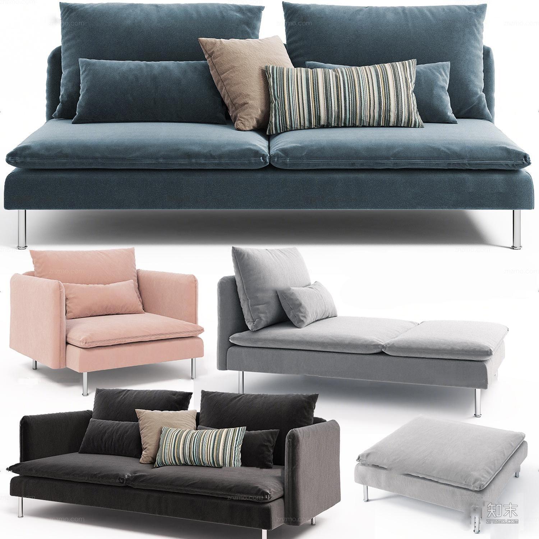 现代布艺单人双人沙发