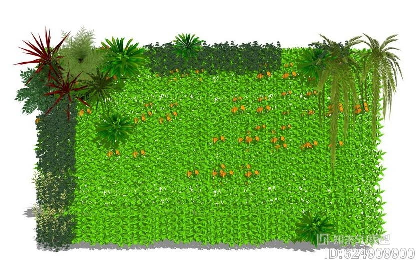 绿植墙SU模型
