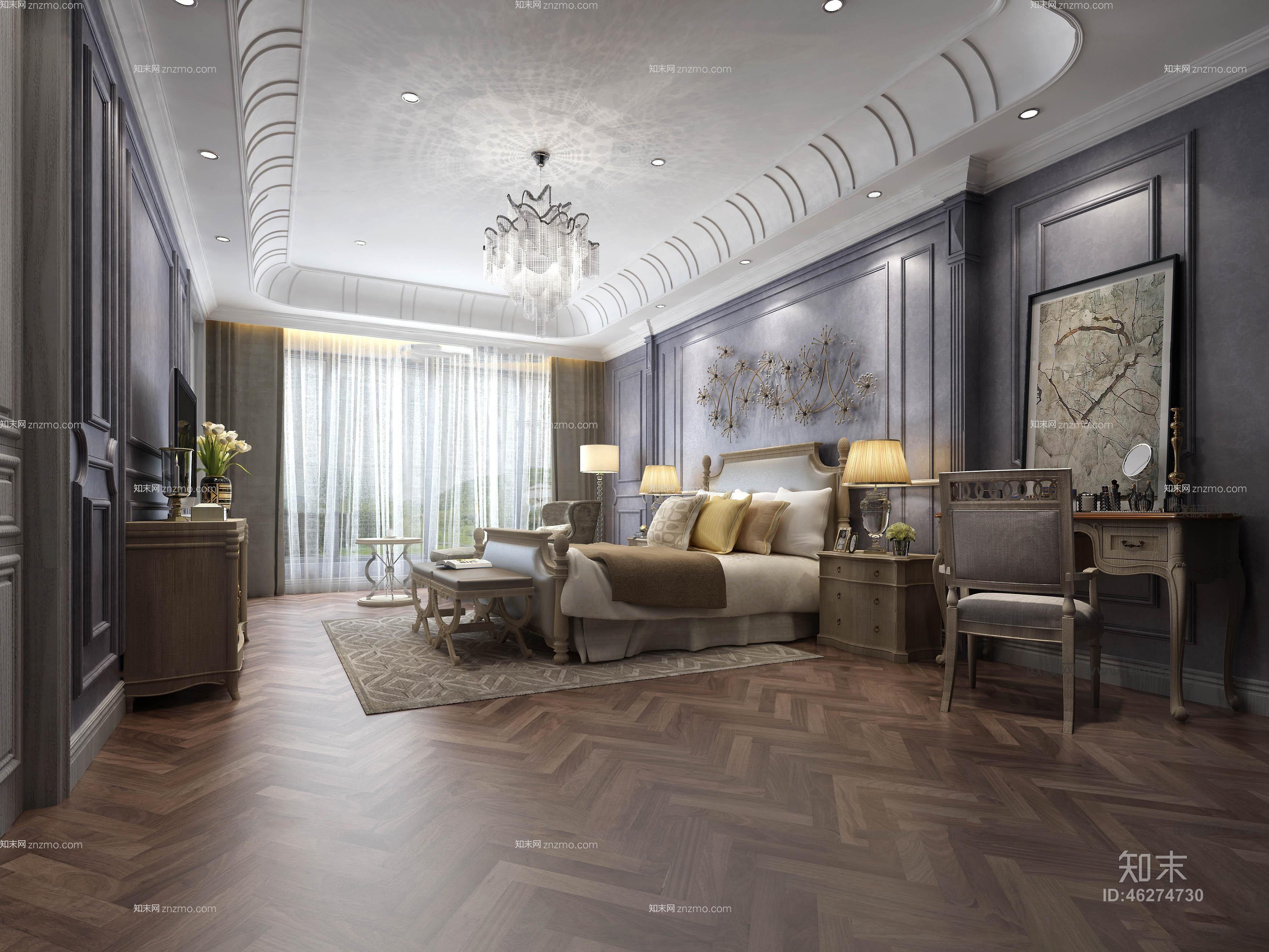 美式主人房卧室 吊灯 台灯 装饰柜 梳妆台 床尾凳 单人沙发