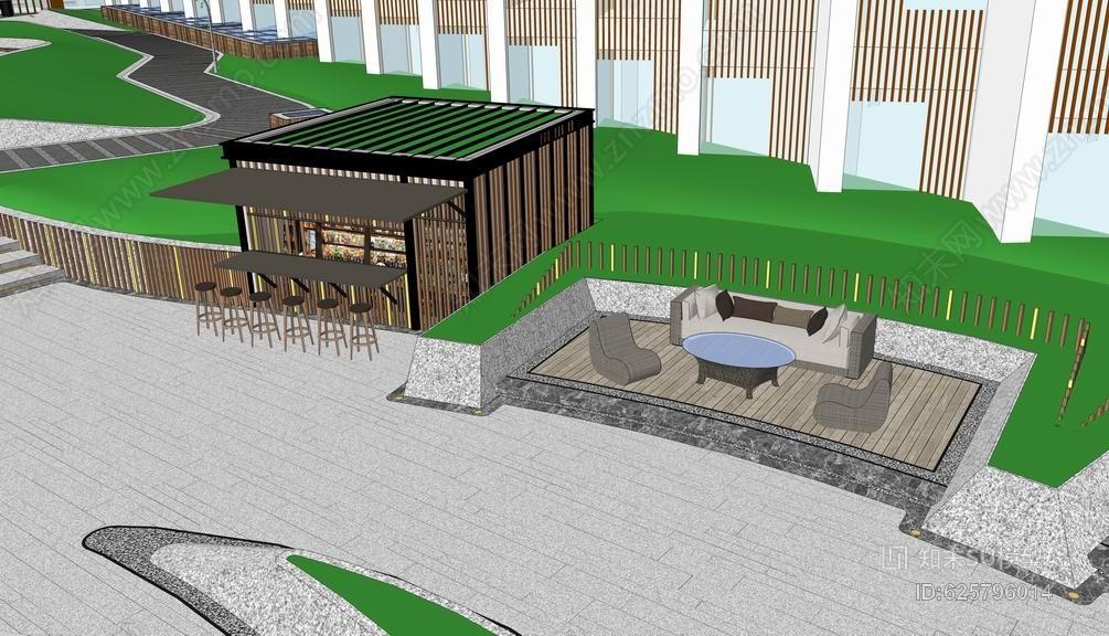 中式屋顶花园SU模型