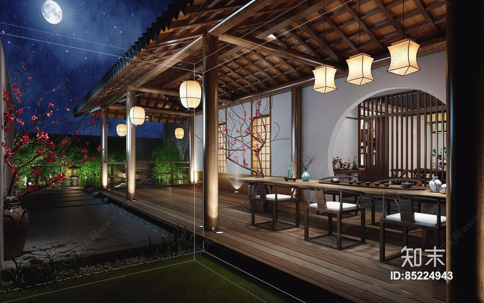 室外景观走廊 新中式景观 连廊 吊灯 茶桌 椅子 摆件 石头 桃花3d模型