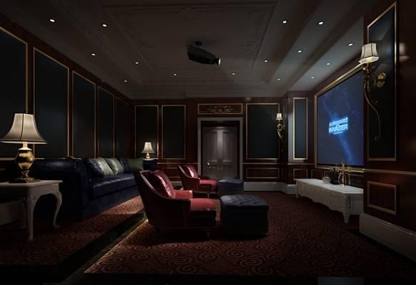 欧式新古典影音室 欧式新古典组合沙发 欧式新古典白色木艺边几 欧式