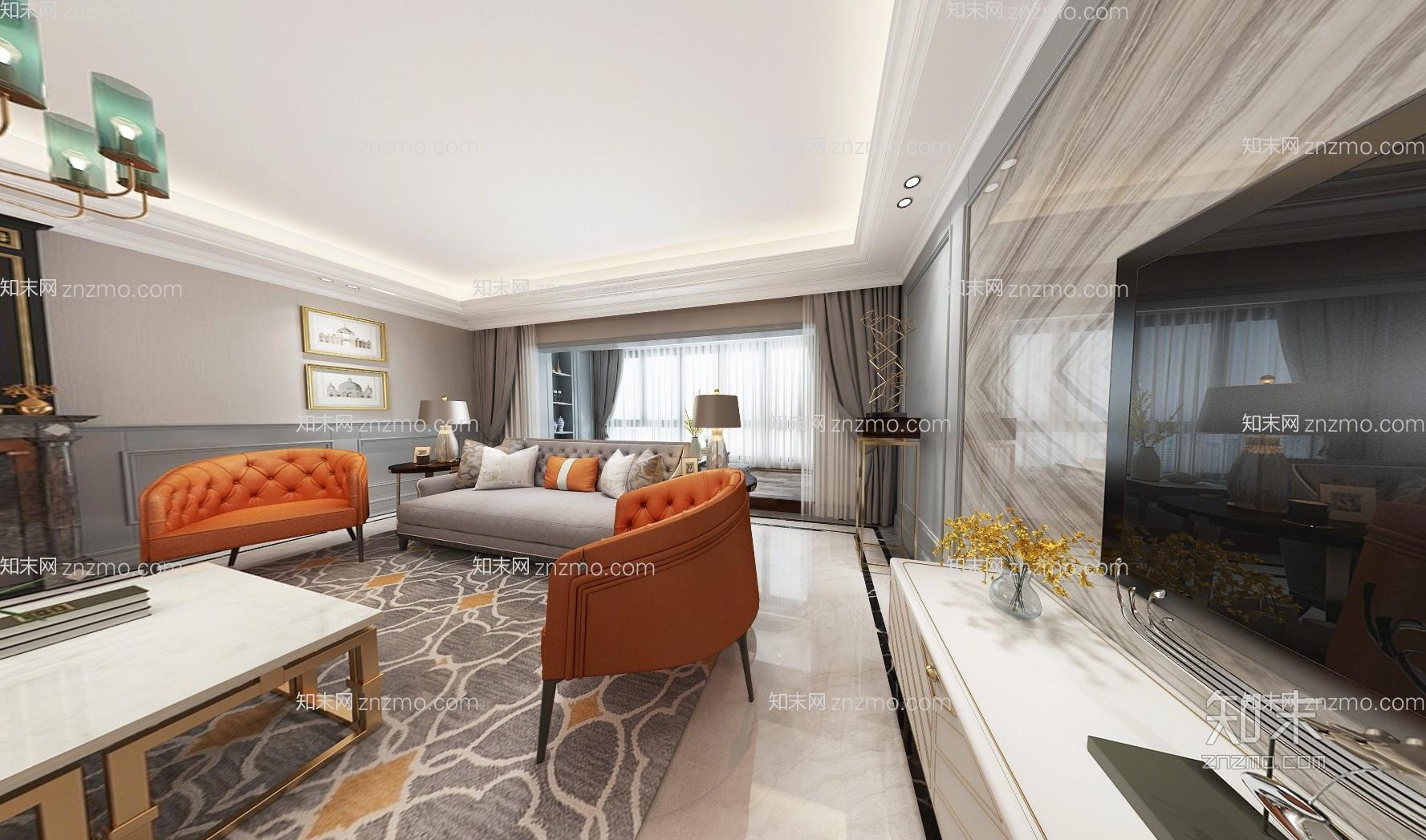 美式奢华客厅餐厅全景3D模型 沙发茶几 餐桌椅 电视柜 吊灯 挂画