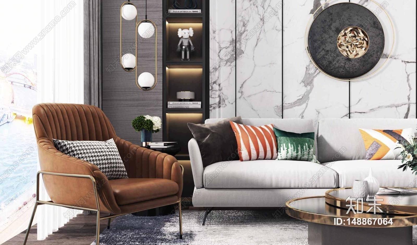 现代沙发茶几组合3D模型下载【ID:148867064】