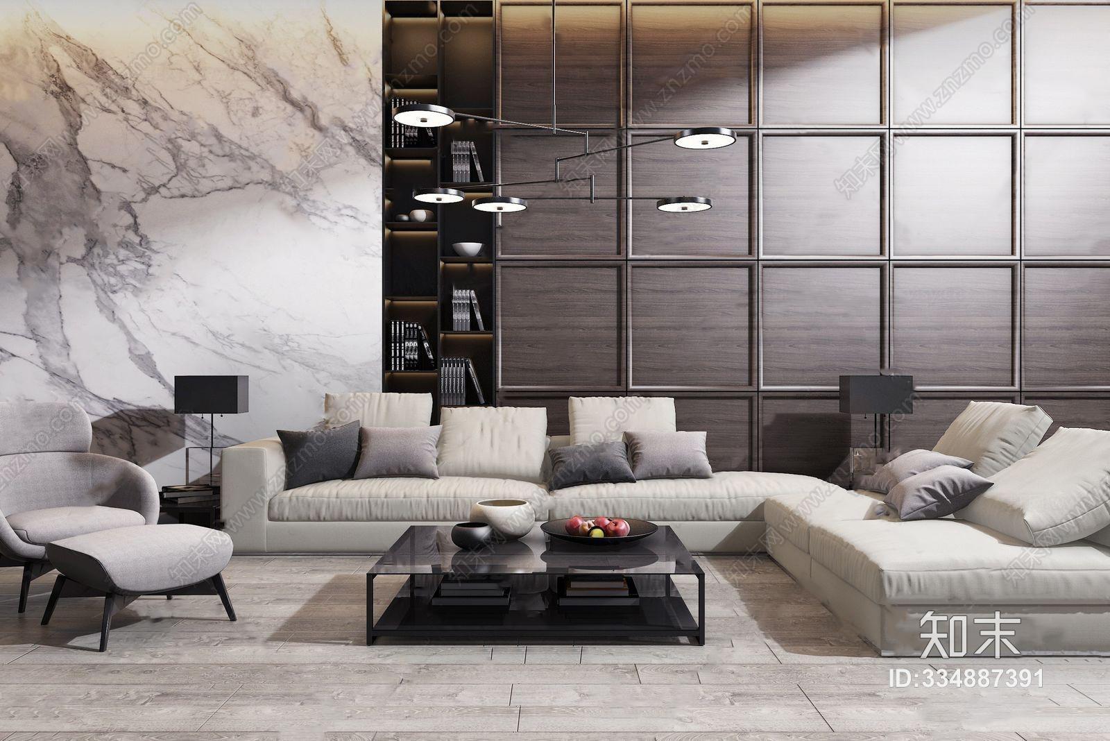 现代沙发茶几组合 现代沙发茶几组合 转角沙发 茶几 台灯 边几 单人沙发 布艺沙发 水果 吊灯
