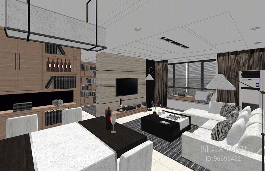 精品免费现代风格客餐厅卫生间厨房卧室SU模型