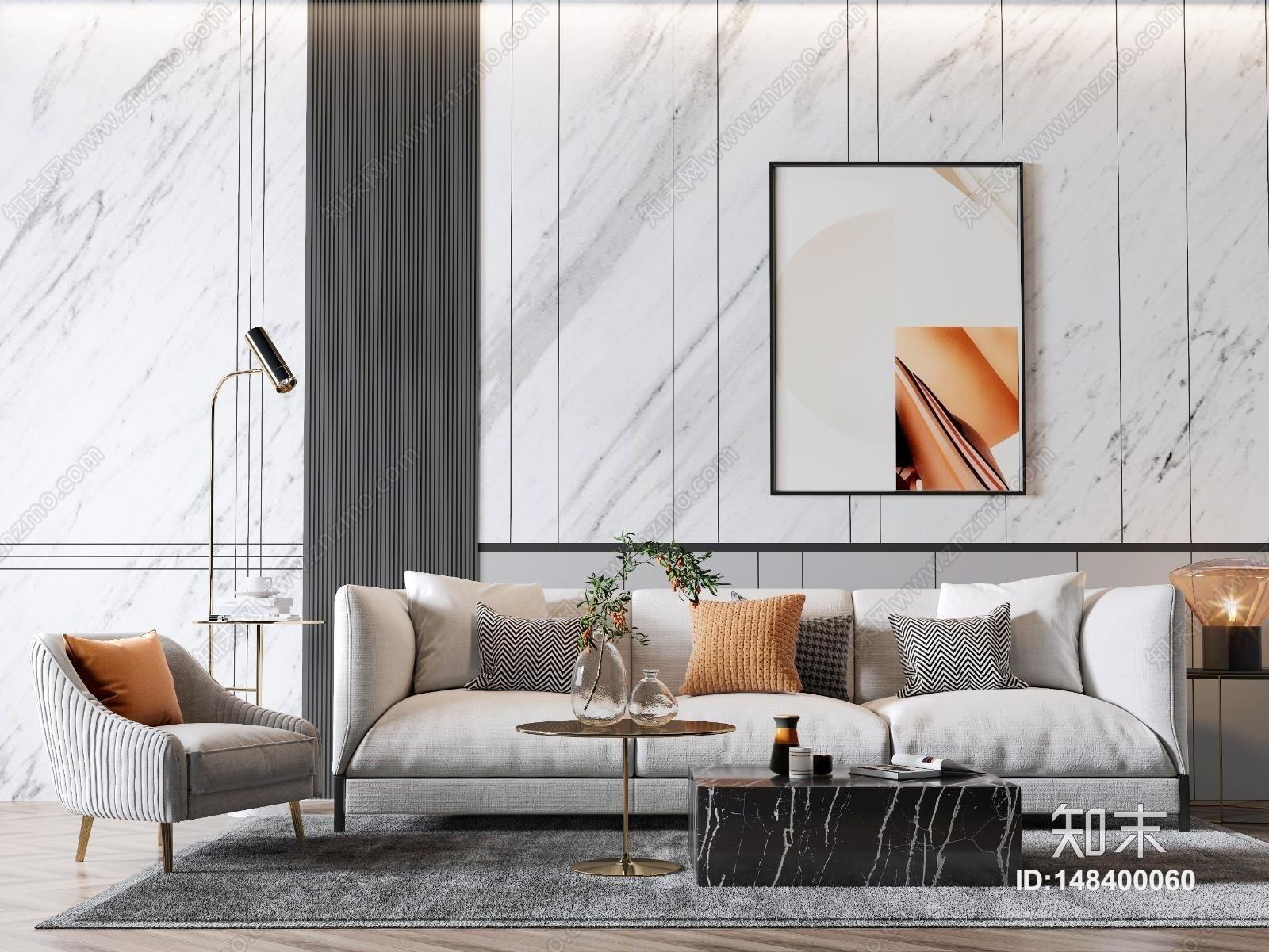 现代沙发茶几组合 多人沙发 单椅 茶几 台灯 饰品摆件 玻璃花瓶