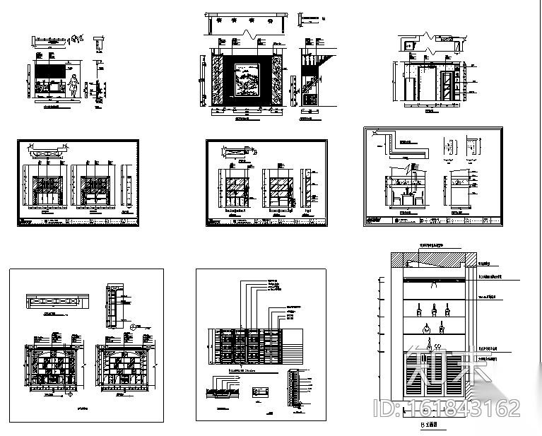 [超全]上百套精品鞋柜、书柜、衣柜、橱柜CAD图库合集施工图下载【ID:161843162】