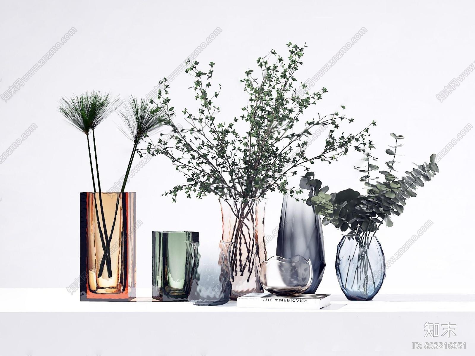 现代玻璃花瓶花卉组合3d模型