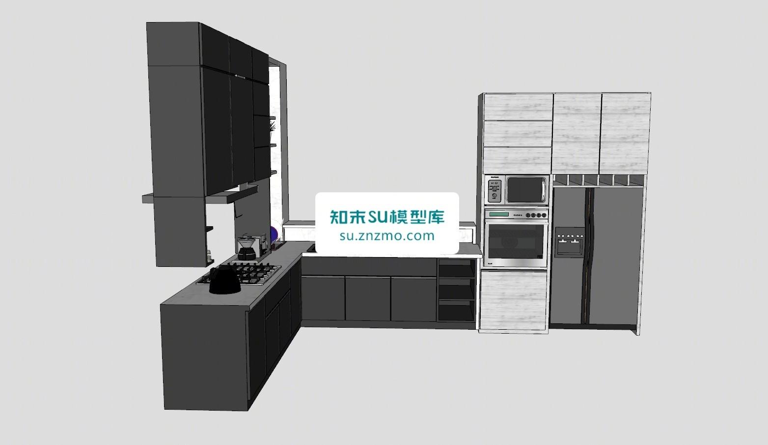 L型工业风厨房橱柜冰箱厨具SU模型下载【ID:148499129】