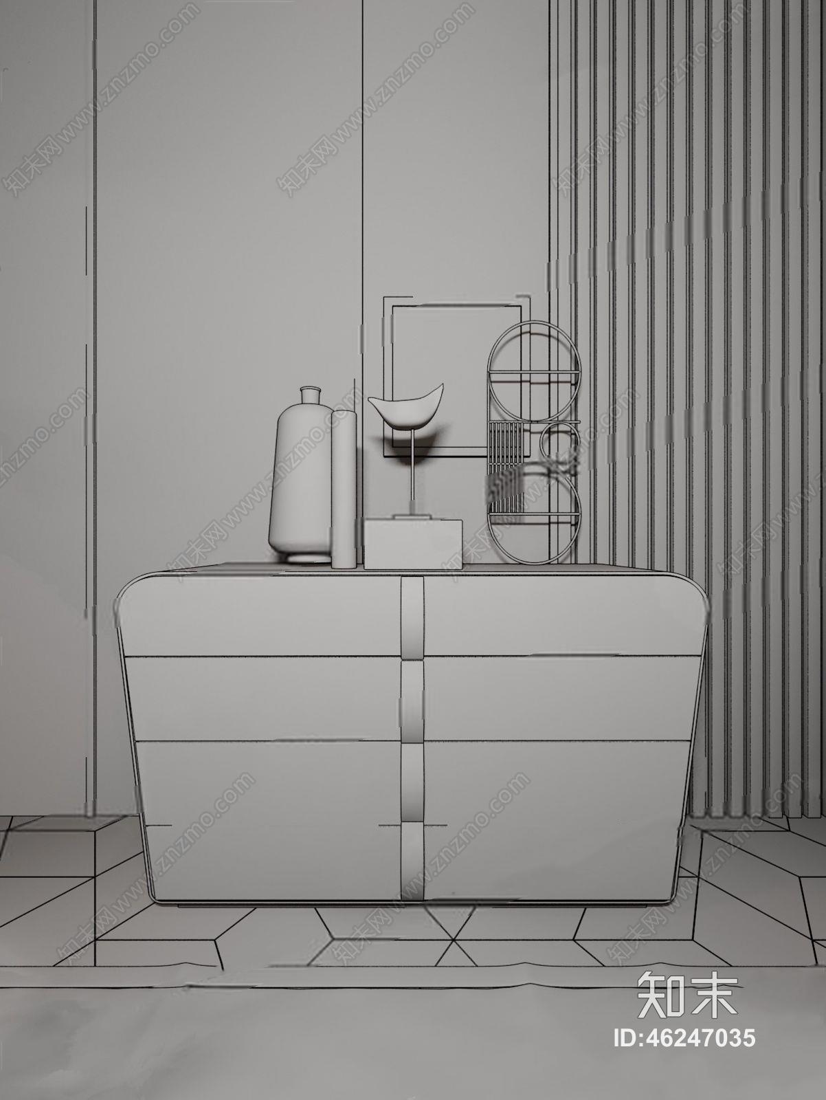 现代卧室 现代卧室 卧室 双人床 床头柜 边柜 玄关柜 休闲椅 雕塑 摆件 床品 床尾凳 地毯 背景墙 台灯 摆件