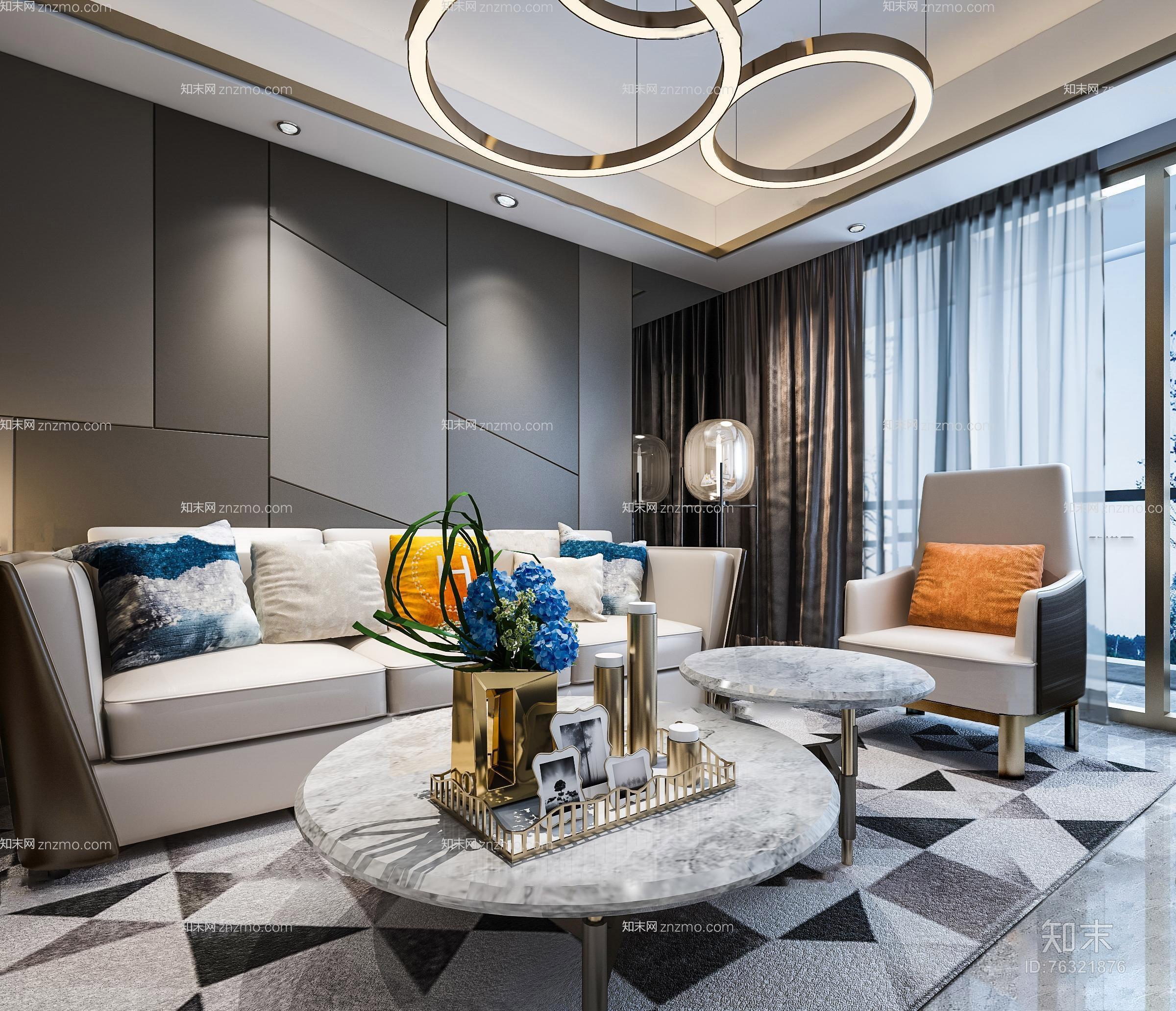 现代客厅3D模型 吊灯 台灯 单双人沙发 茶几 装饰柜 挂画