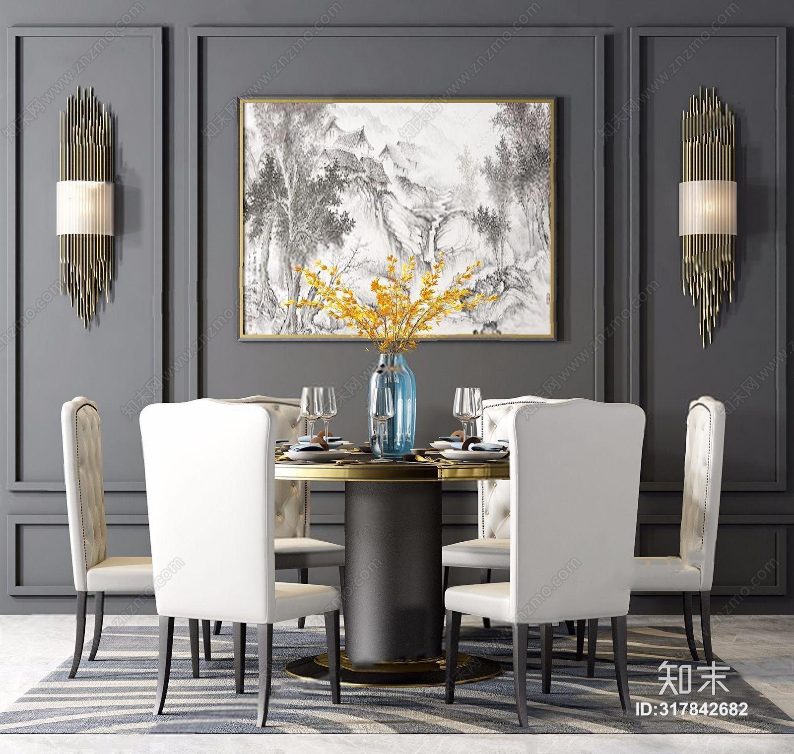 现代简欧餐桌椅组合 简欧桌椅组合 餐桌椅 壁灯 花艺 餐具 圆餐桌 地毯 挂画 椅子