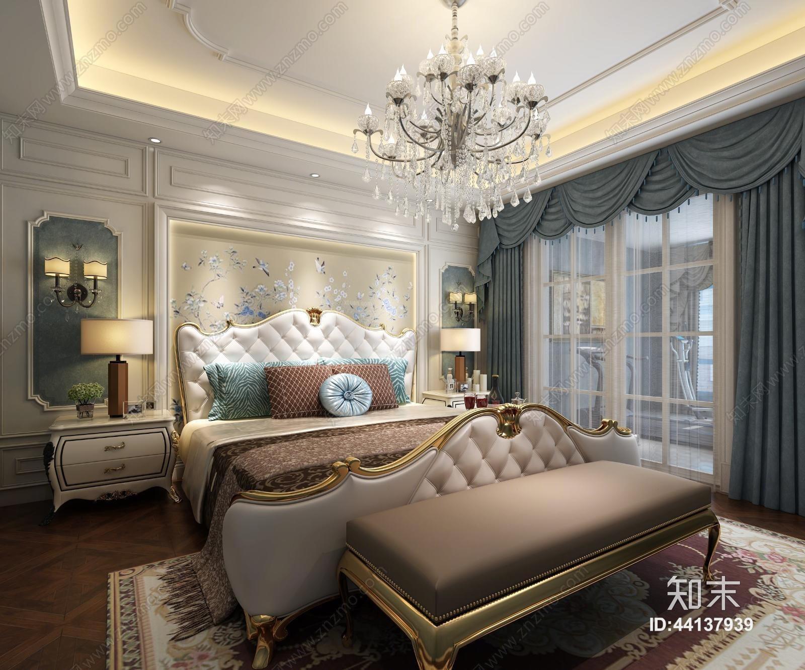欧式新古典卧室 双人床 吊灯 壁灯 台灯 床头柜