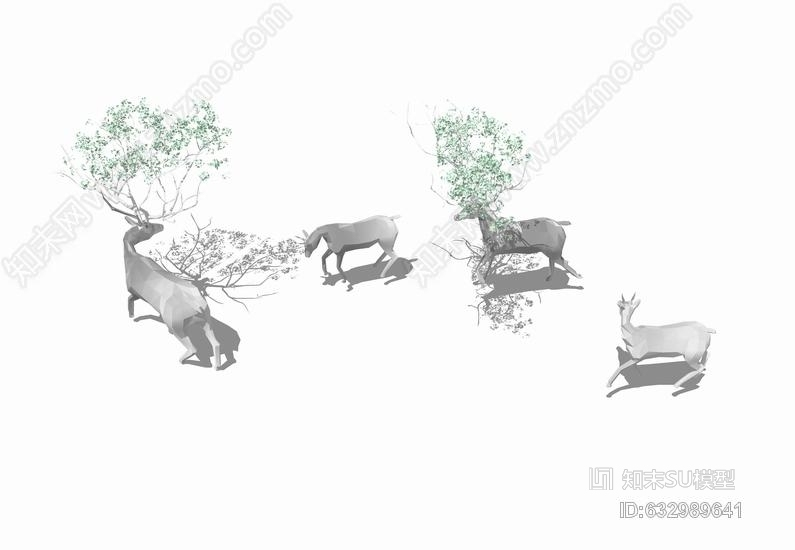 鹿群雕塑SU模型