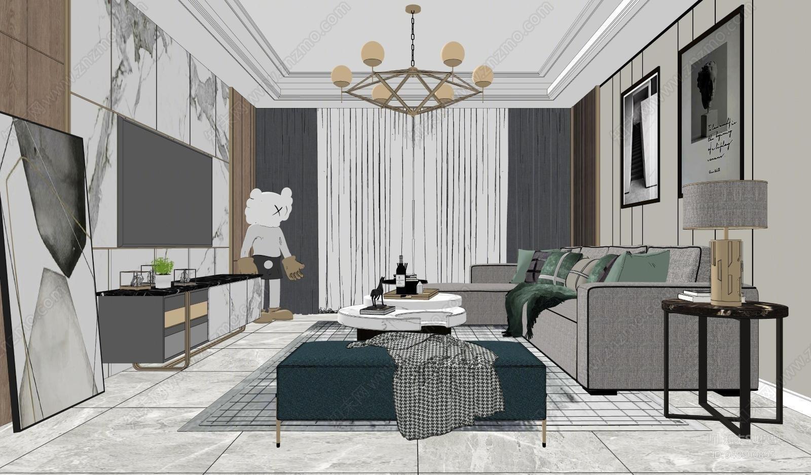 现代风格家居客厅SU模型下载【ID:948900895】
