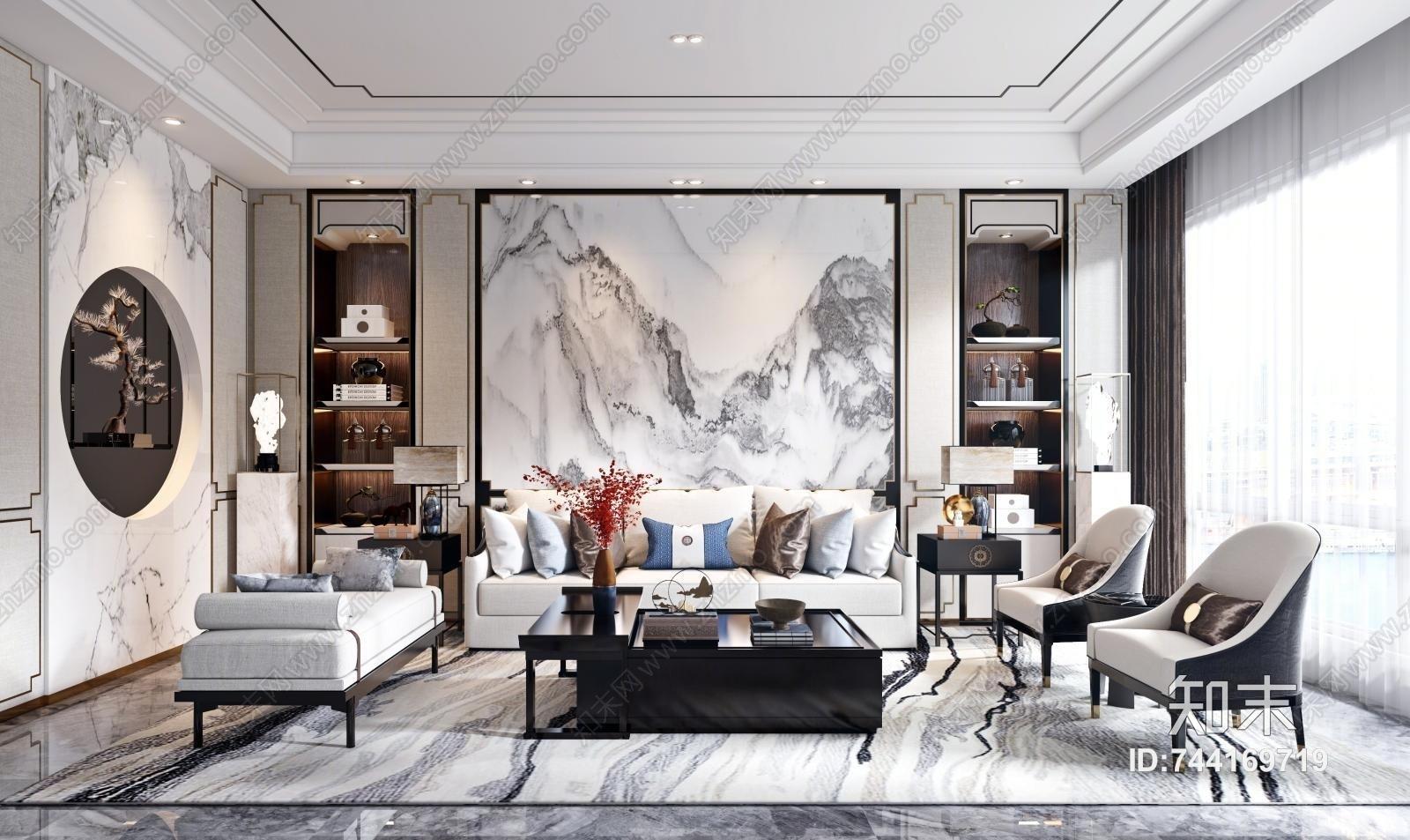 新中式客厅 新中式沙发茶几组合 新中式单椅
