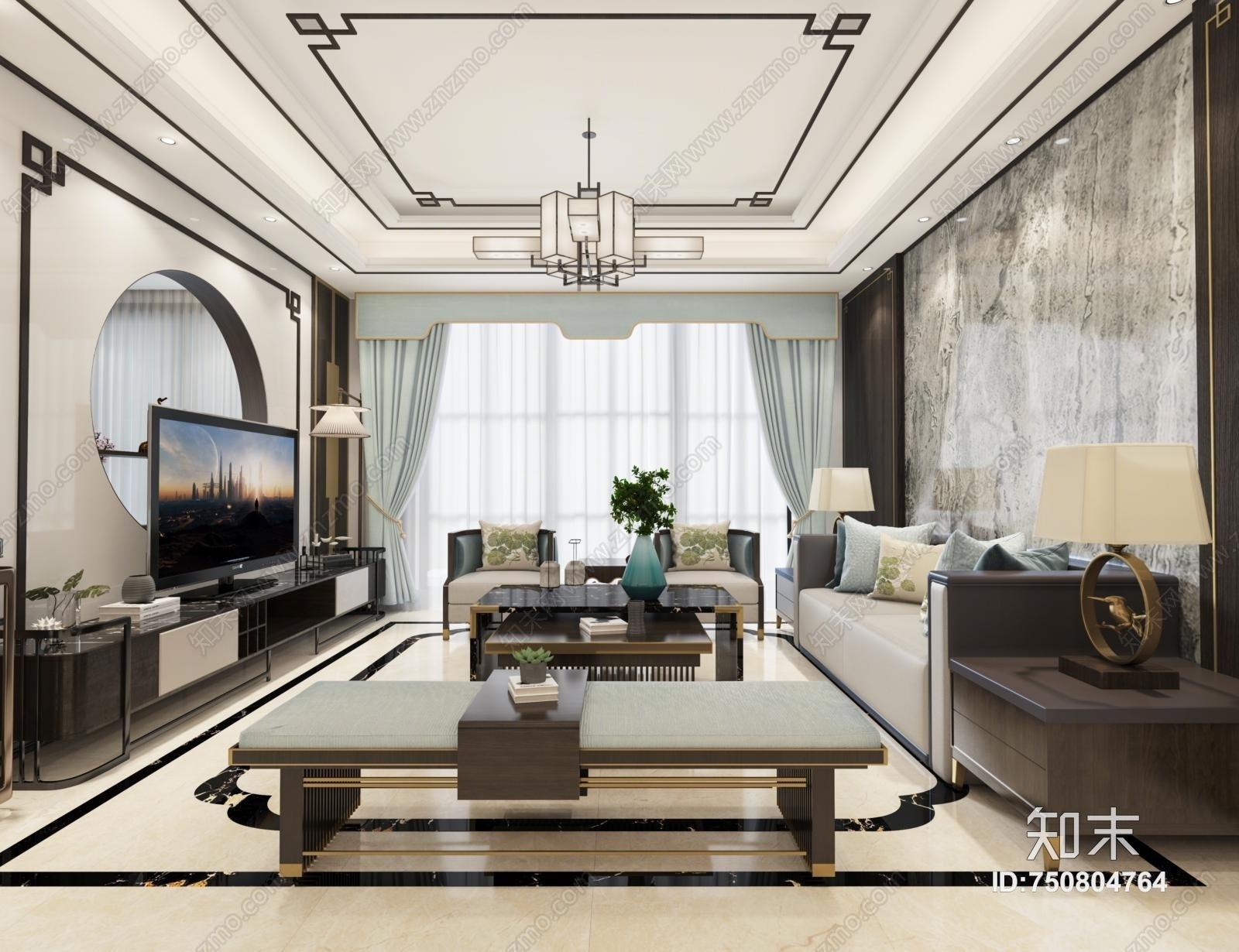 新中式客厅3D模型下载【ID:750804764】