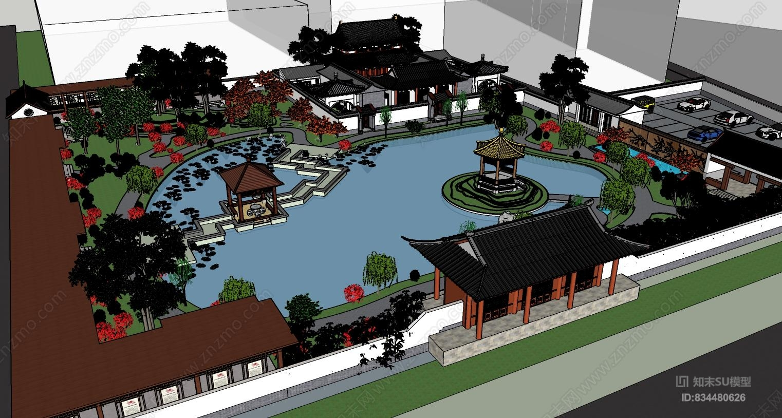 中式园林公园古建组合规划庭院四合院子su模型