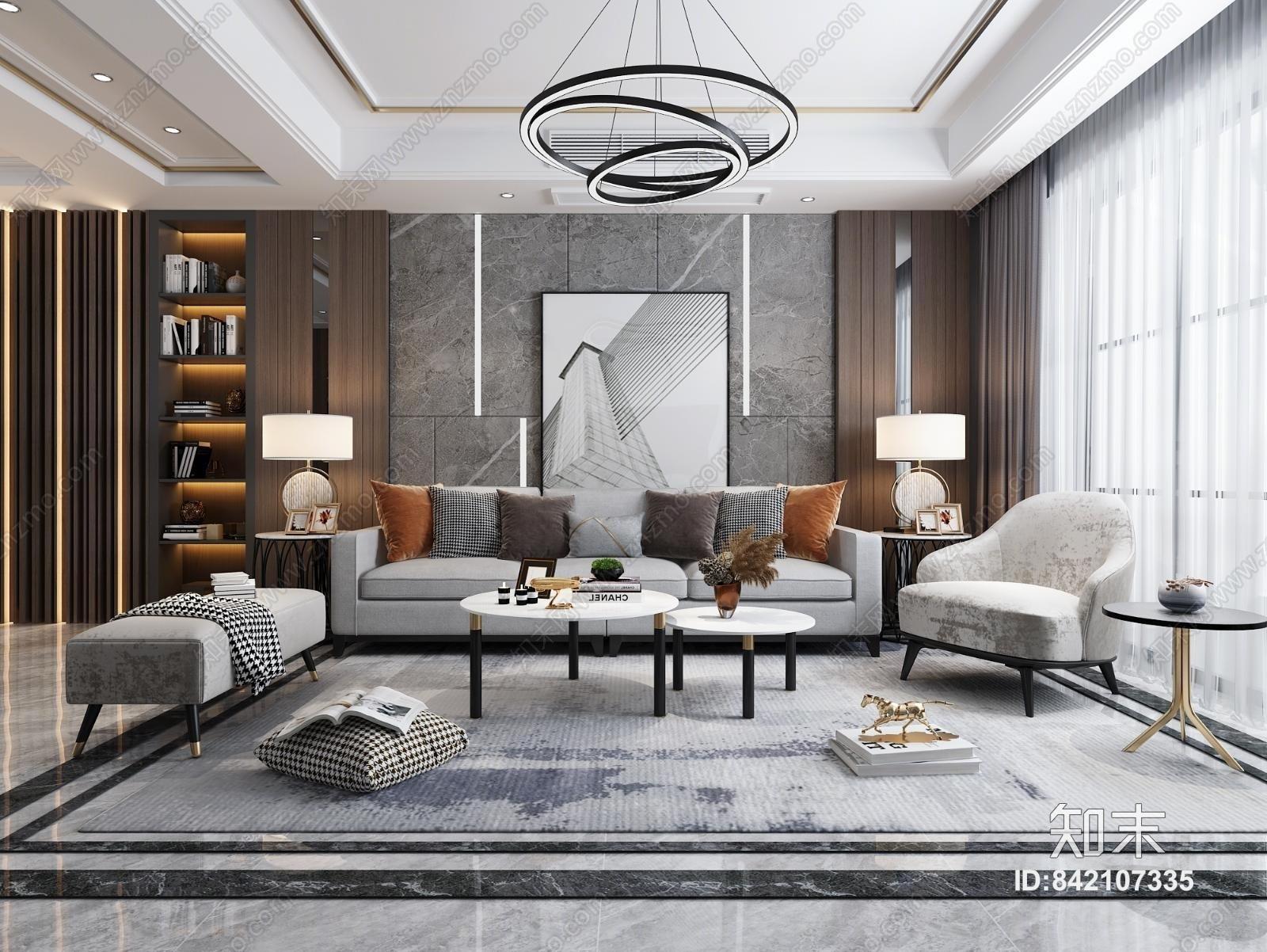 现代客厅餐厅 沙发茶几组合 餐桌椅 电视柜 吊灯 挂画 装饰品 摆件