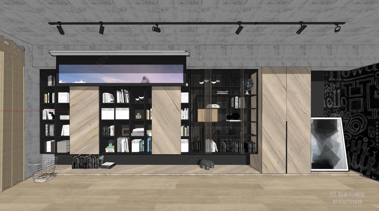 现代北欧工业风客厅电视背景墙柜子书柜组合投影幕原木色粗狂书店