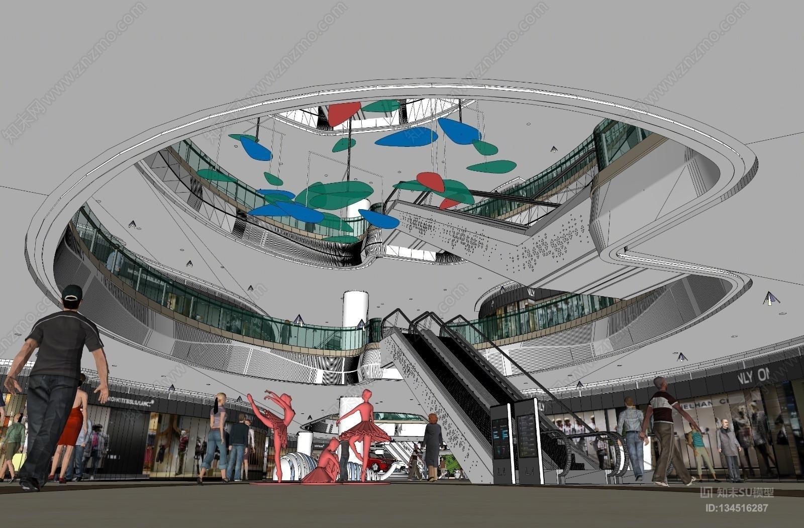 现代商场大厅过道