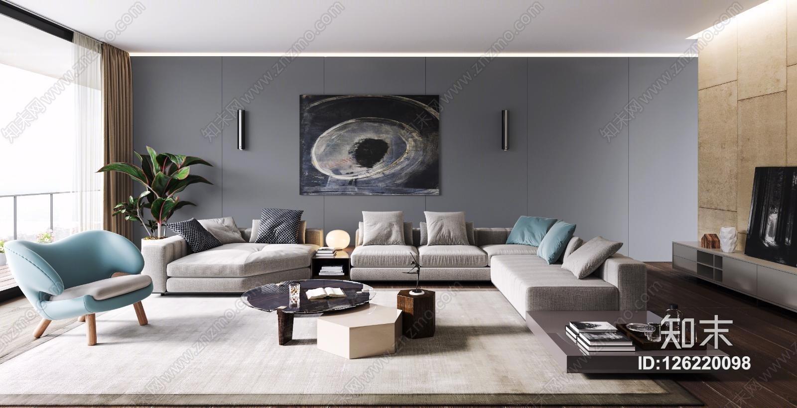 现代客厅 装饰品 台灯 沙发 地毯 挂画 茶几 边几 椅子