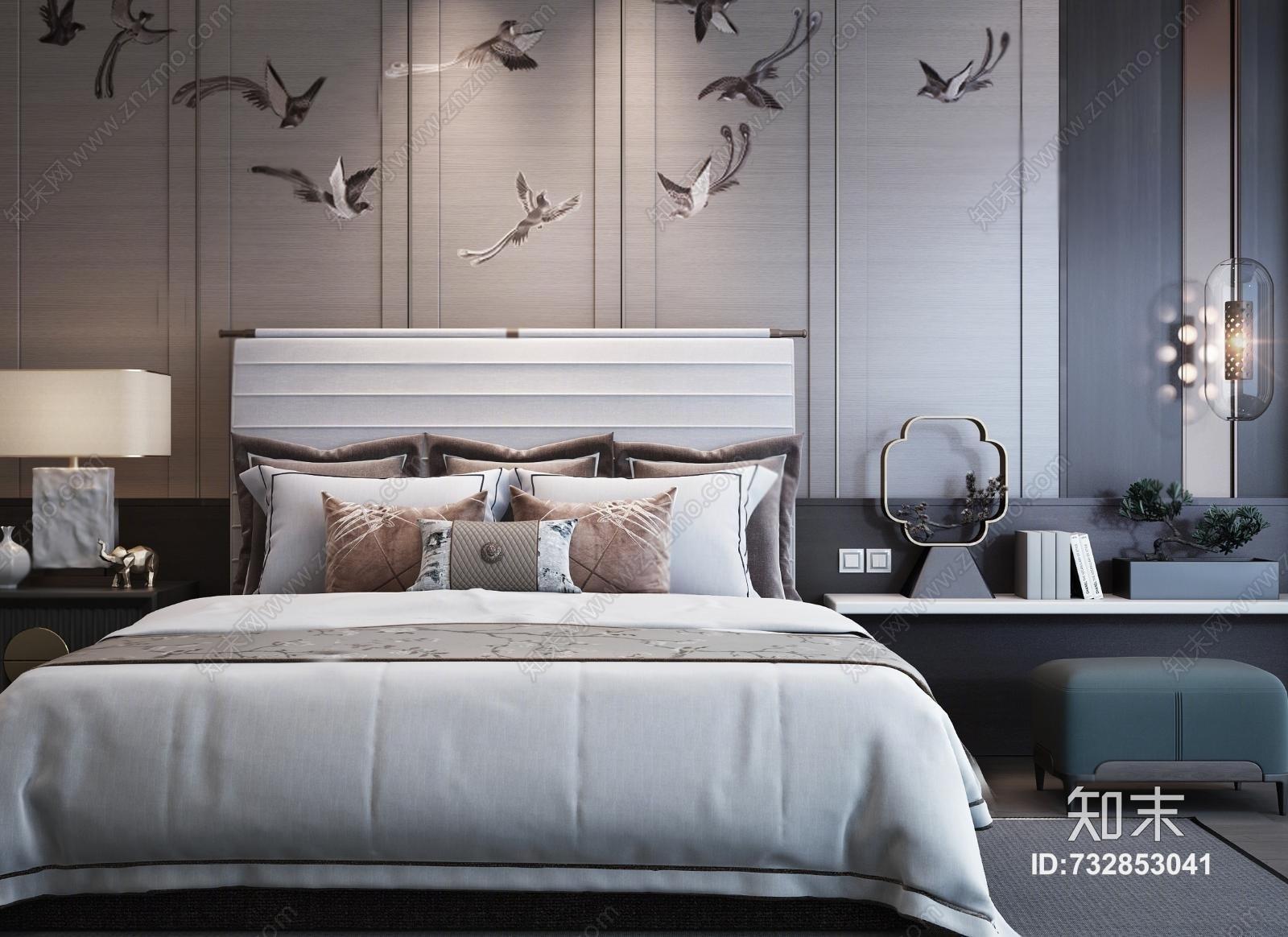 中式新中式双人床 床头柜 台灯 玻璃吊灯