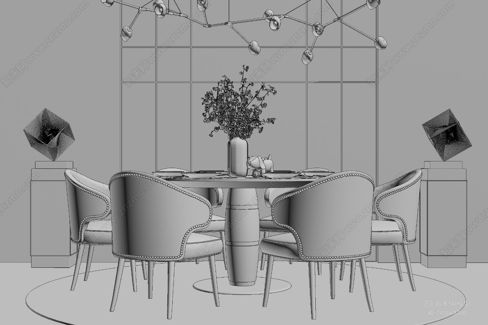 现代风格餐桌椅组合SU模型下载【ID:748669760】